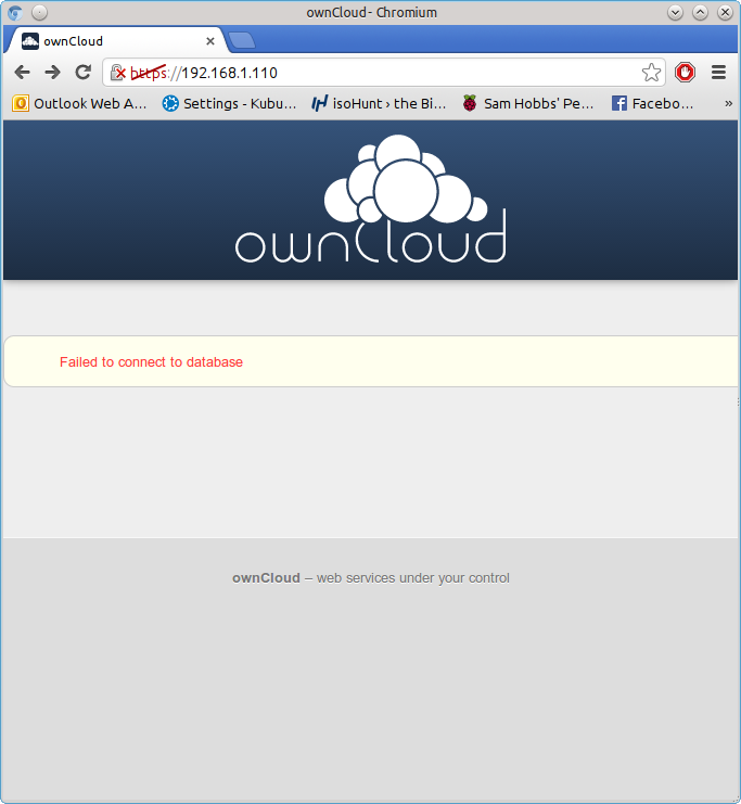 Owncloud database drivers error