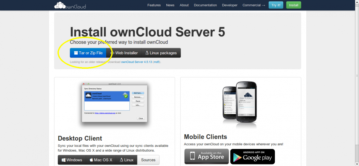 OwnCloud intsallation download page