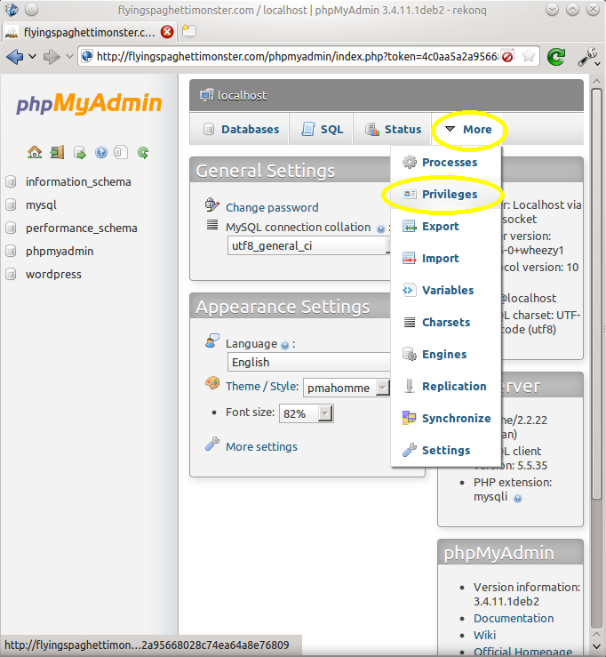 Navigate to the privileges section of phpMyAdmin