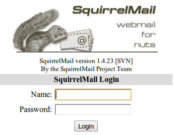 Squirrelmail login page